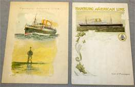 HAMBURG AMERICAN LINE PASSENGER LIST, SHIP MENU