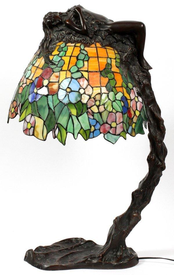 E. THOMASSON ART NOUVEAU STYLE LEADED GLASS LAMP