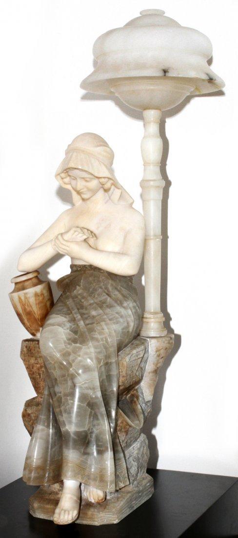 CARRARA MARBLE FIGURAL LAMP 'REBECCA AT THE WELL'
