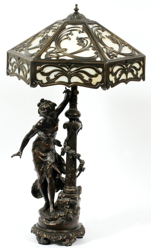 COLLECTION FRANCAISE PATINATED METAL FIGURAL LAMP