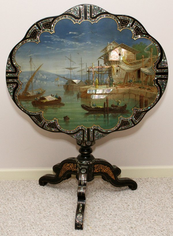 ENGLISH MOTHER-OF-PEARL & BLACK LACQUER TABLE