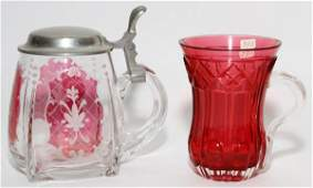 CONTINENTAL CRANBERRY GLASS MUGS 19TH C TWO
