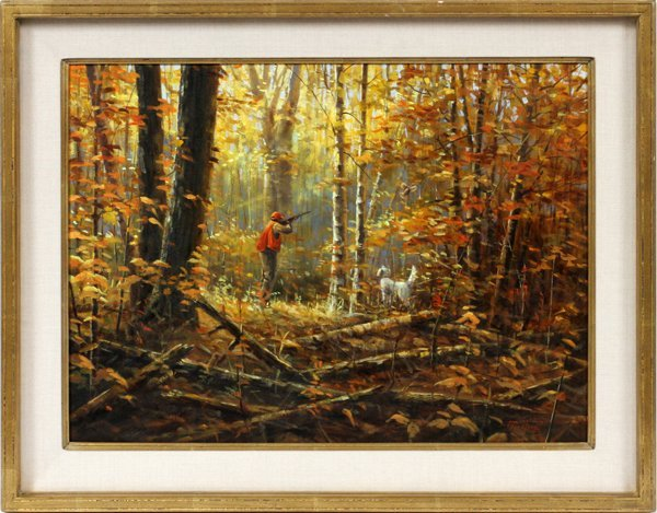 PACO YOUNG OIL ON CANVAS, HUNTING SCENE