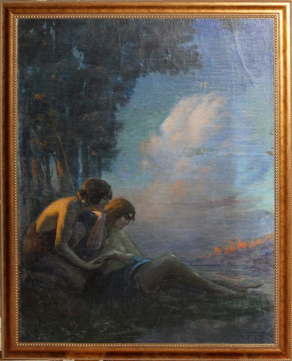 GEORGE M. KESSLERE OIL ON CANVAS, YOUNG LOVE