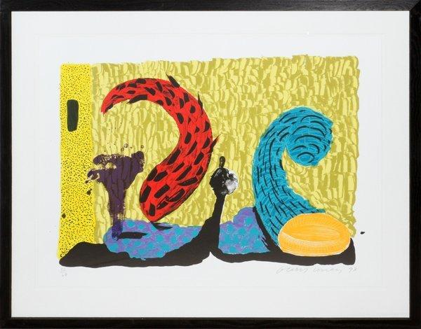 "DAVID HOCKNEY COLOR LITHOGRAPH 1993, ""PUSHING UP"""