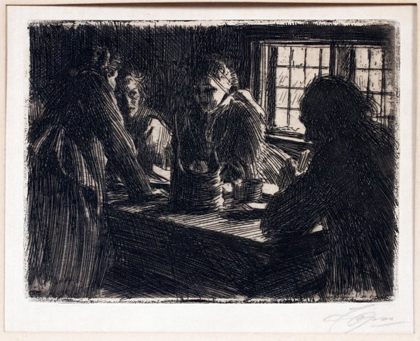 A. ZORN ETCHING DRYPOINT THE BRIDE'S MAID OF HONOR