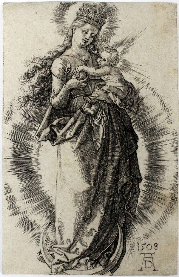 ALBRECHT DURER ENGRAVING, VIRGIN ON THE CRESCENT