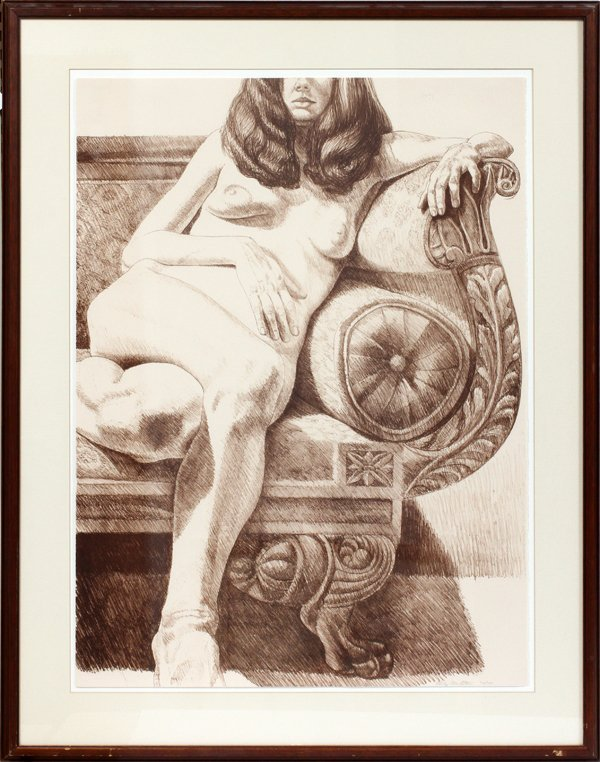 PHILIP PEARLSTEIN ETCHING, FEMALE NUDE ON SOFA