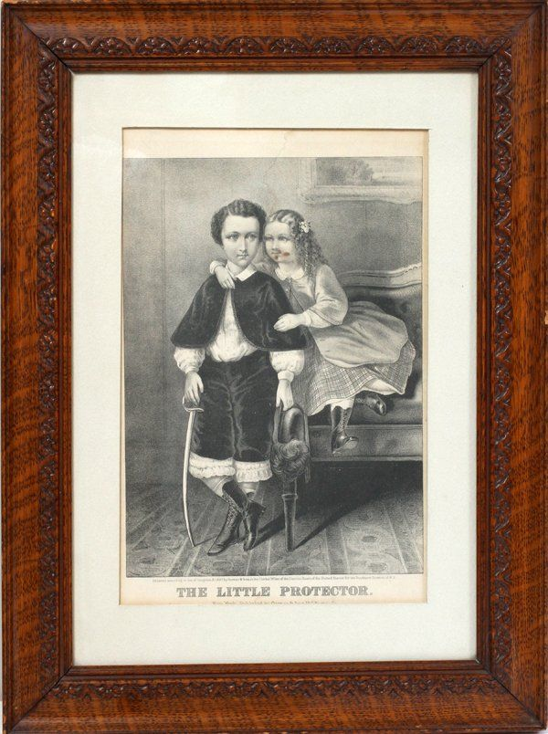 """CURRIER & IVES LITHOGRAPH, """"LITTLE PROTECTOR"""""""