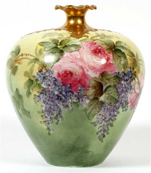 Willets Belleek Porcelain Handpainted Bulbous Vase