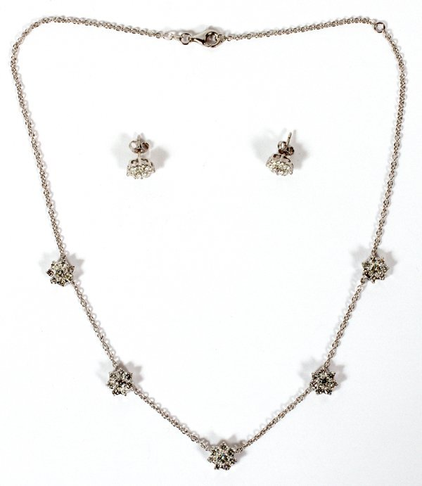 5.50CT CLUSTER DIAMOND EARRINGS & NECKLACE SUITE