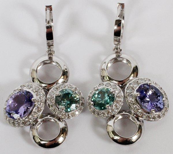 3.32CT NATURAL TANZANITE DIAMOND DANGLE EARRINGS
