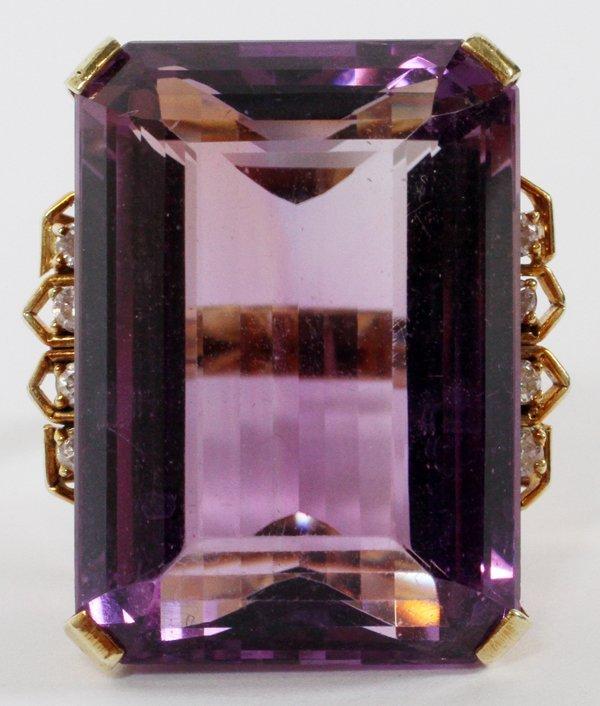 14 KT GOLD DIAMOND & AMETHYST RING