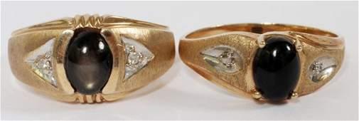 ONYX W DIAMONDS 10 KT GOLD RING