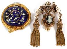 VICTORIAN GOLD ENAMEL MOURNING PENDANT/BROOCHES