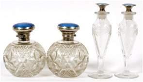 ENGLISH ENAMELED STERLING GLASS PERFUMES C. 1920
