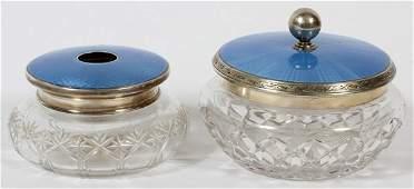 ENGLISH ENAMELED STERLING GLASS DRESSER JARS