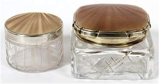 ENGLISH ENAMELED STERLING & GLASS COSMETIC JARS