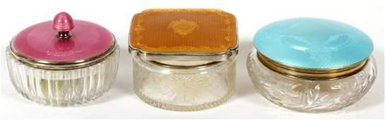 ENAMELED STERLING GLASS DRESSER JARS EARLY 20TH C