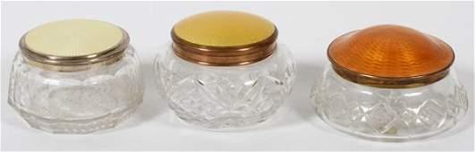 VINTAGE GUILLOCHE ENAMELED GLASS DRESSER JARS