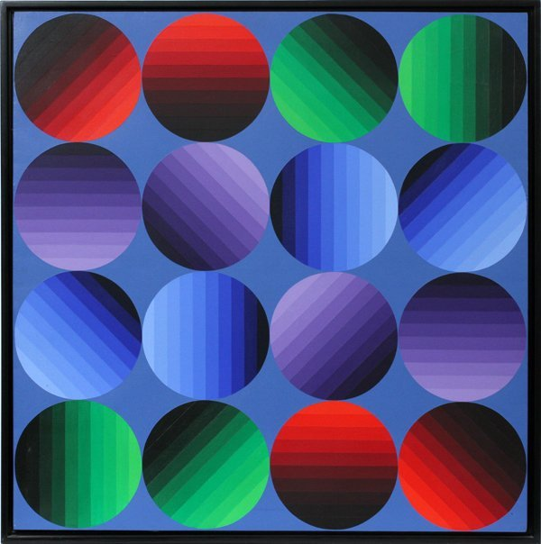 VICTOR VASARELY OIL ON CANVAS 1972/75