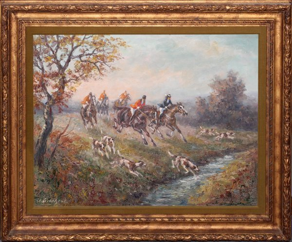 W. GRECHOW OIL ON CANVAS, ENGLISH HUNT