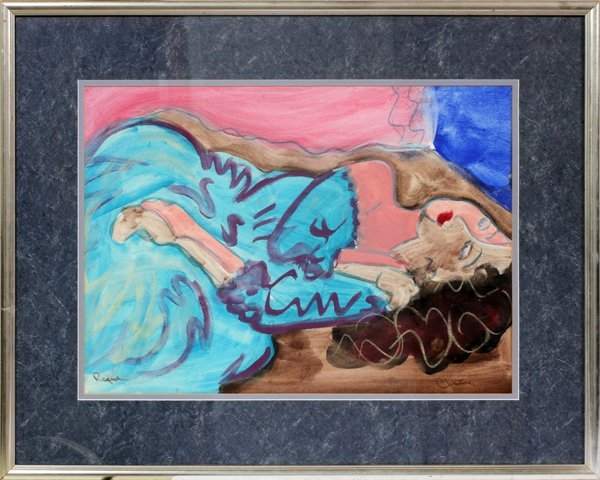 SIGNED PASTEL FRAMED ABSTRACT PICTURE SEATED GIRL