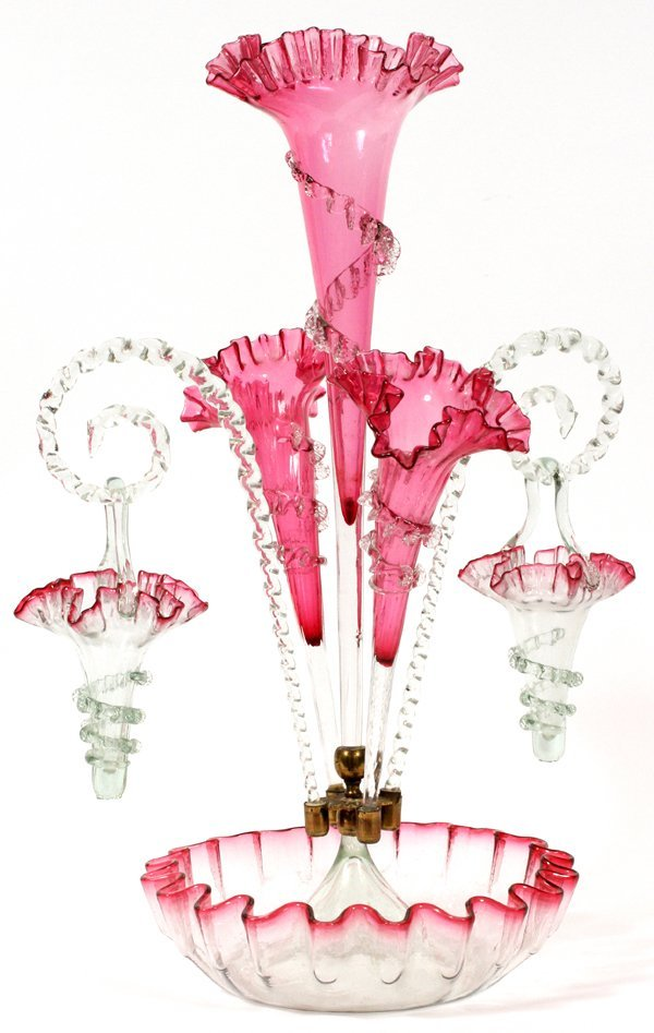 VICTORIAN CRANBERRY GLASS EPERGNE LATE 19TH C.