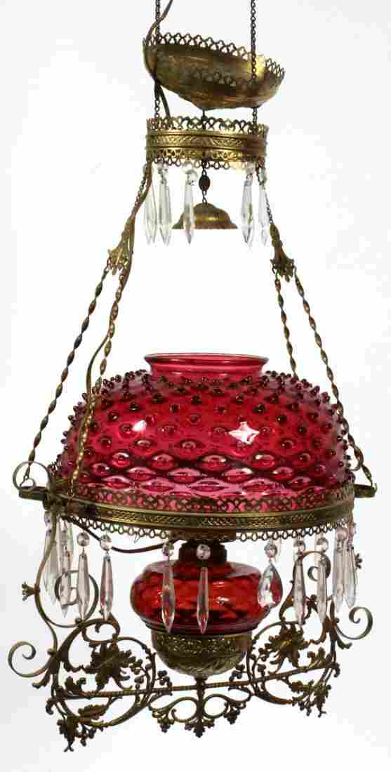 VICTORIAN RUBY HOBNAIL GLASS HANGING OIL LAMP