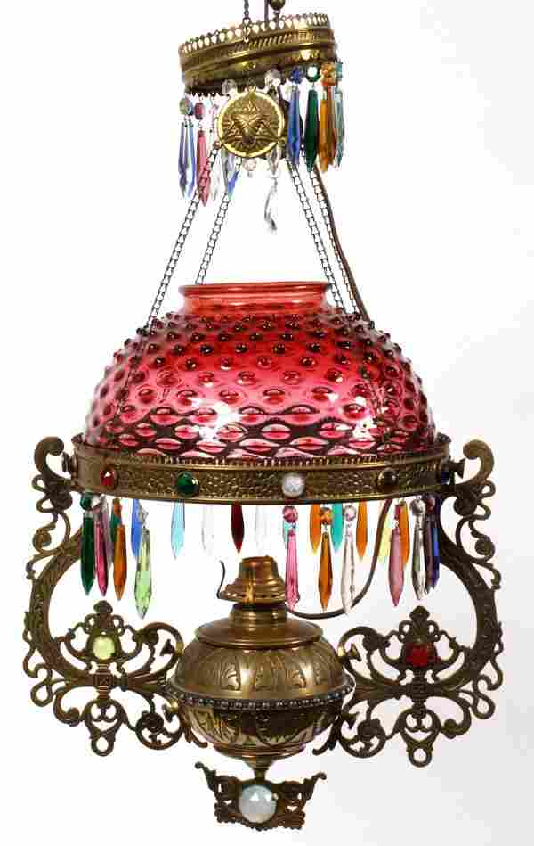 VICTORIAN CRANBERRY HOBNAIL GLASS HANGING OIL LAMP