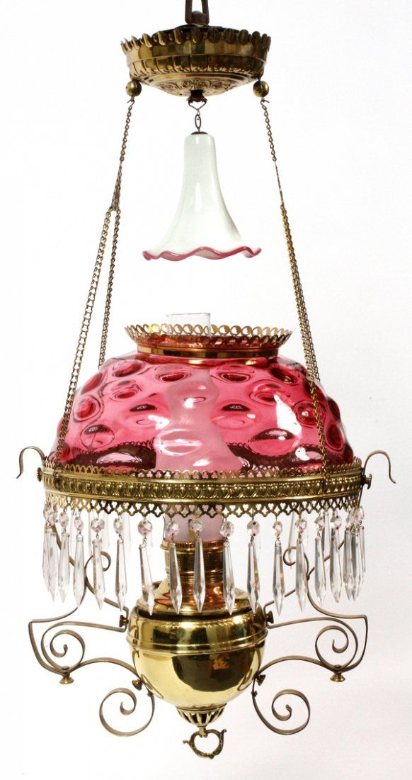 MILLER VICTORIAN CRANBERRY GLASS HANGING OIL LAMP