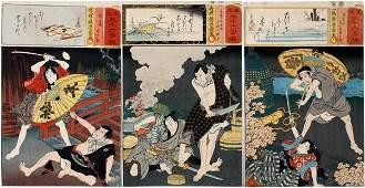JAPANESE UKIYOE WOODBLOCK PRINTS WARRIORS THREE