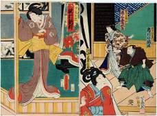 TOYOKUNI III UKIYOE WOODBLOCK PRINT WARRIOR GEISHA