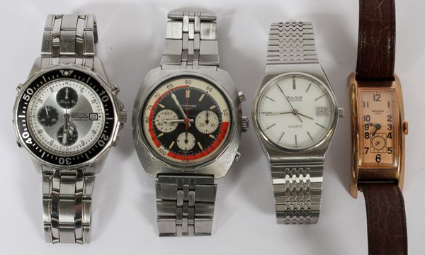 SEIKO LONGINES GRUEN AND BULOVA WRISTWATCHES 4 PCS.