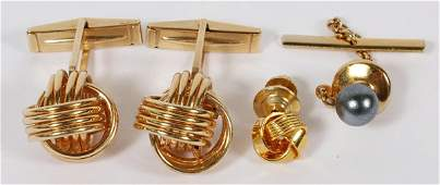 14KT YELLOW GOLD CUFF LINKS PAIR  PEARL TIE TACK