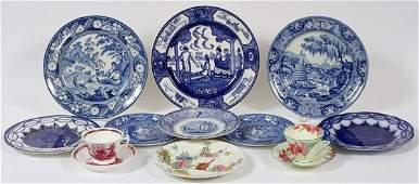 ENGLISH BLUE TRANSFER PLATES & OTHER PORCELAIN
