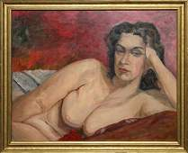 VINCENT OIL ON CANVAS BOARD NUDE RECLINING WOMAN