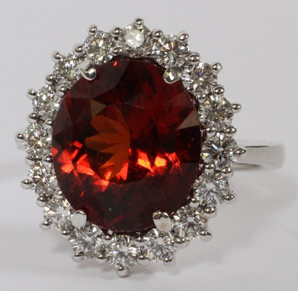 5.80CT SPESSARTITE GARNET/DIAMOND RING SIZE 6.5