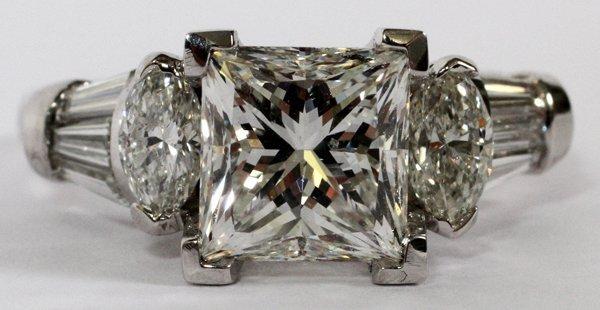 3.01CT PRINCESS CUT DIAMOND RING GIA SIZE 7.25