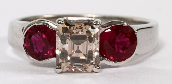 1.30CT FANCY BROWN DIAMOND & RUBY RING SIZE 7