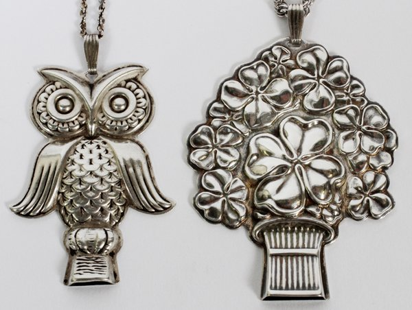 REED & BARTON STRL SILVER OWL & WHISTLE NECKLACES
