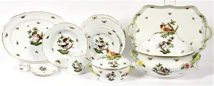HEREND ROTHSCHILD BIRD PORCELAIN DINNER SET 60 PC