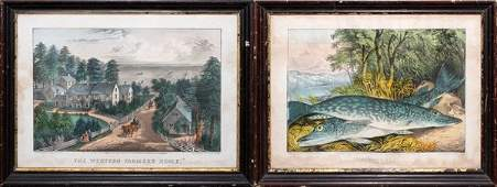 CURRIER  IVES HAND COLORED LITHOGRAPHS 2