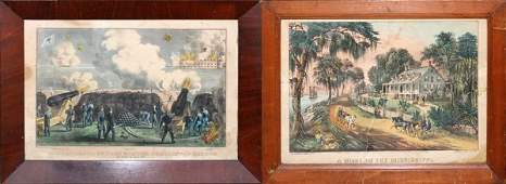 CURRIER  IVES HAND COLORED LITHOGRAPHS 1861 1871