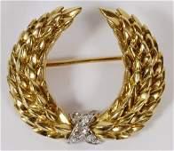 ITALIAN 18KT GOLD/ DIAMOND BROOCH FOR TIFFANY & CO.