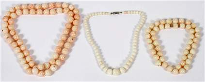 ANGEL SKIN CORAL BEAD NECKLACES THREE