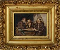 CONTINENTAL STYLE OIL ON BOARD 19TH C