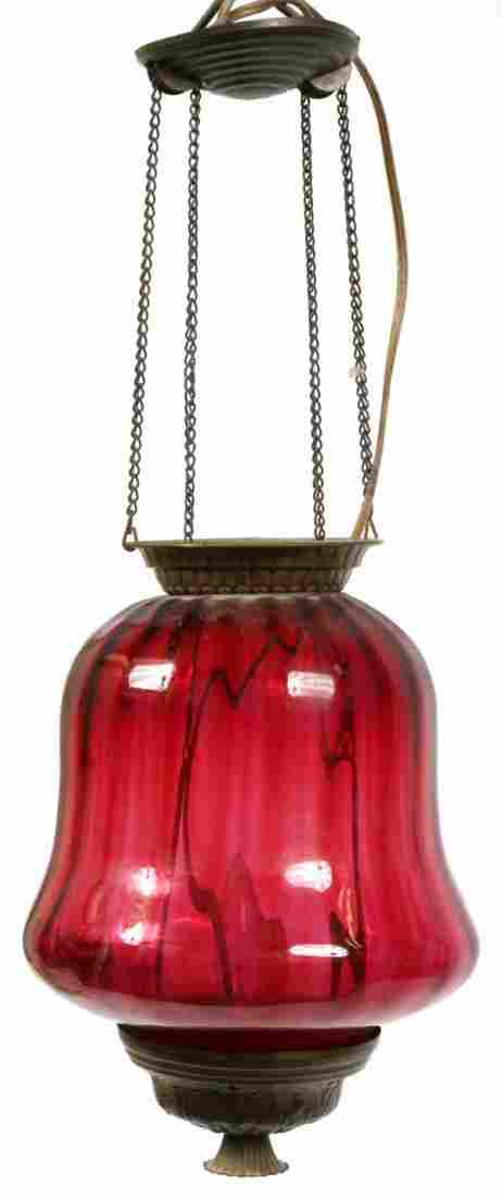 VICTORIAN CRANBERRY GLASS HANGING LAMP LATE 19TH C.