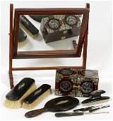 WOOD & SILVER C. 1900 SHAVING MIRROR & BOX