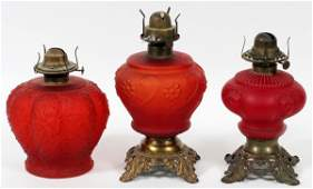 VICTORIAN RED SATIN GLASS OIL LAMPS LATE 19TH C.